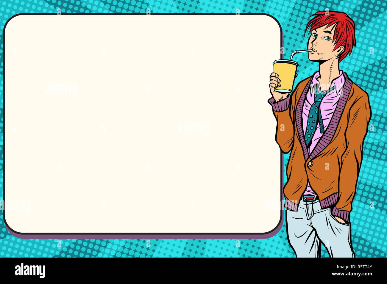 Fashionable hipster young man drinking a beverage, manga anime - Stock Image