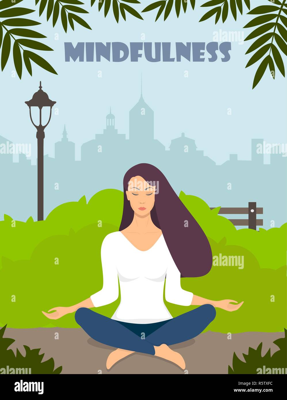 Young woman making meditation in lotus pose with closed eyes. Beautiful girl relaxes, practicing yoga in city park. Vector flat illustration - Stock Vector