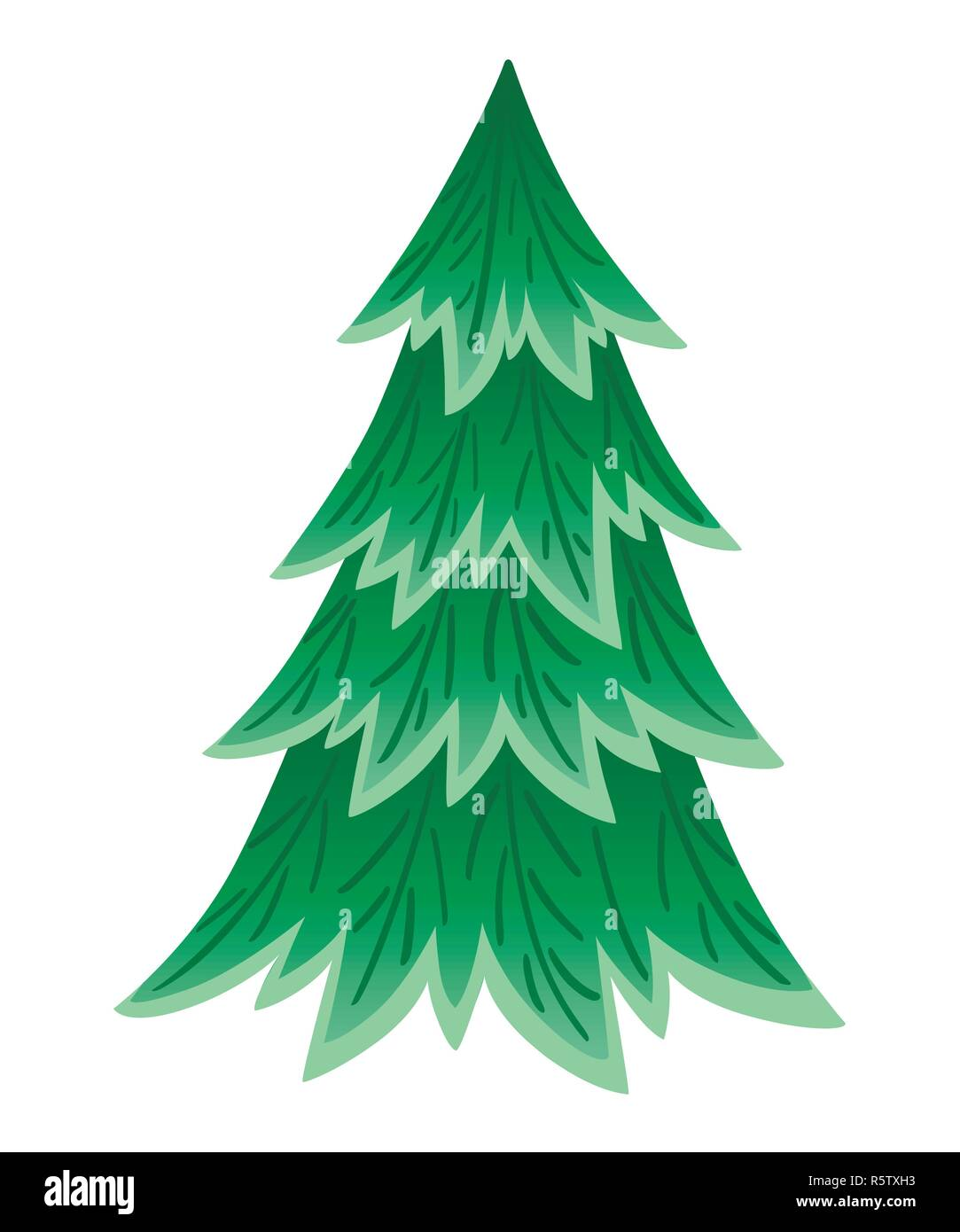 Green Spruce Tree Evergreen Flat Style Christmas Tree Without
