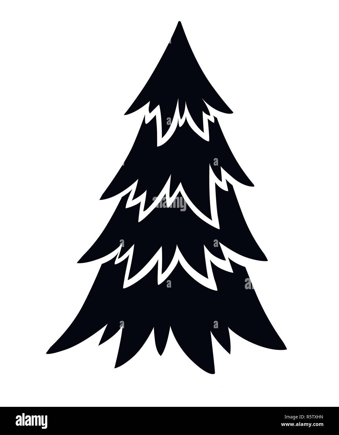 Black Silhouette Spruce Tree Evergreen Flat Style Christmas Tree