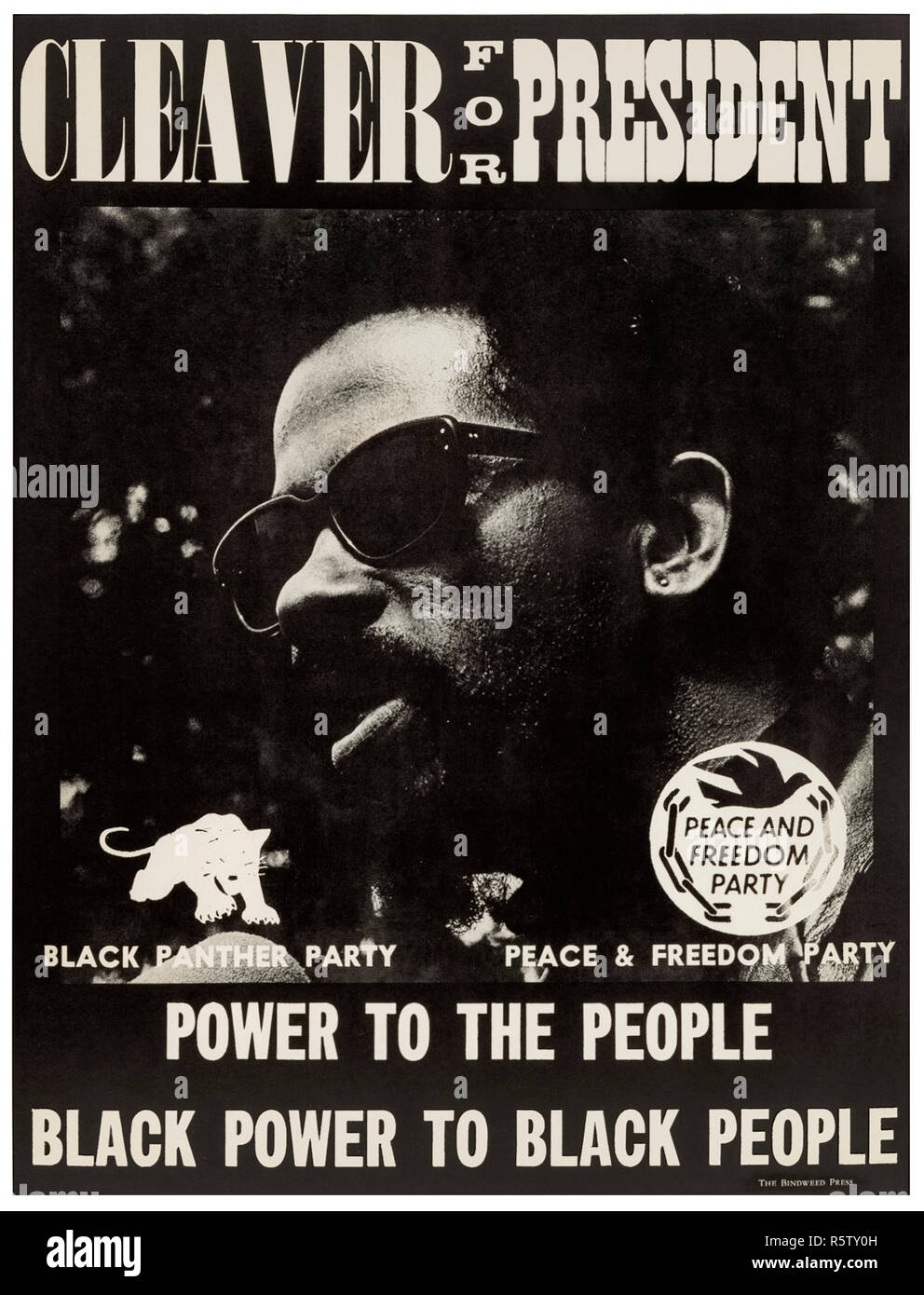 'Cleaver for President – Power to the People – Black Power to Black People' 1968 presidential campaign poster for Eldridge Cleaver (1935-1998) leader of the Black Panther Party who stood on an anti-Vietnam war, black liberation candidate for the Peace and Freedom Party. See more information below. - Stock Image