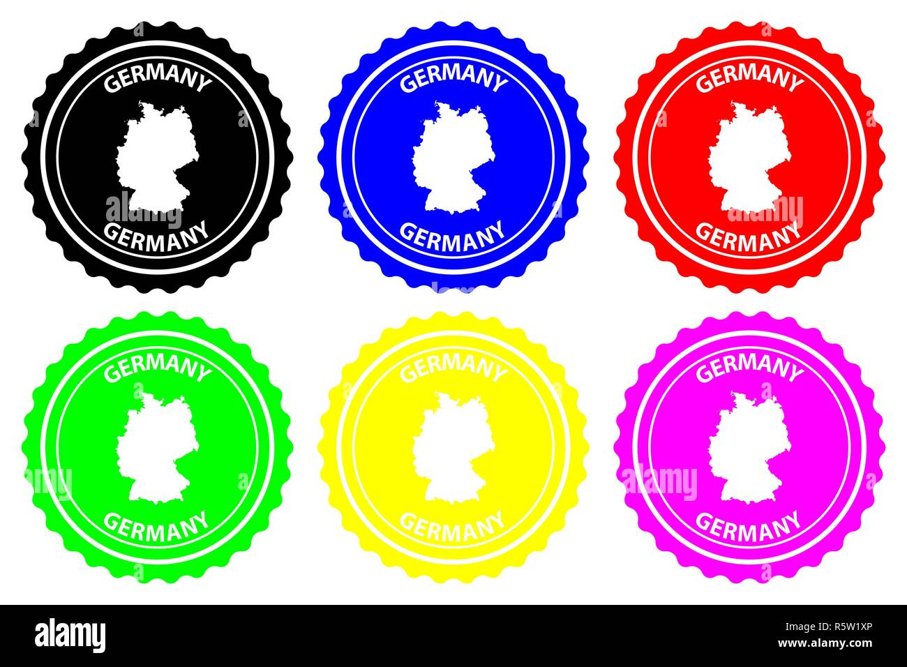 Germany - rubber stamp - vector, Deutschland map pattern - sticker - black, green, yellow, purple, blue and red - Stock Vector