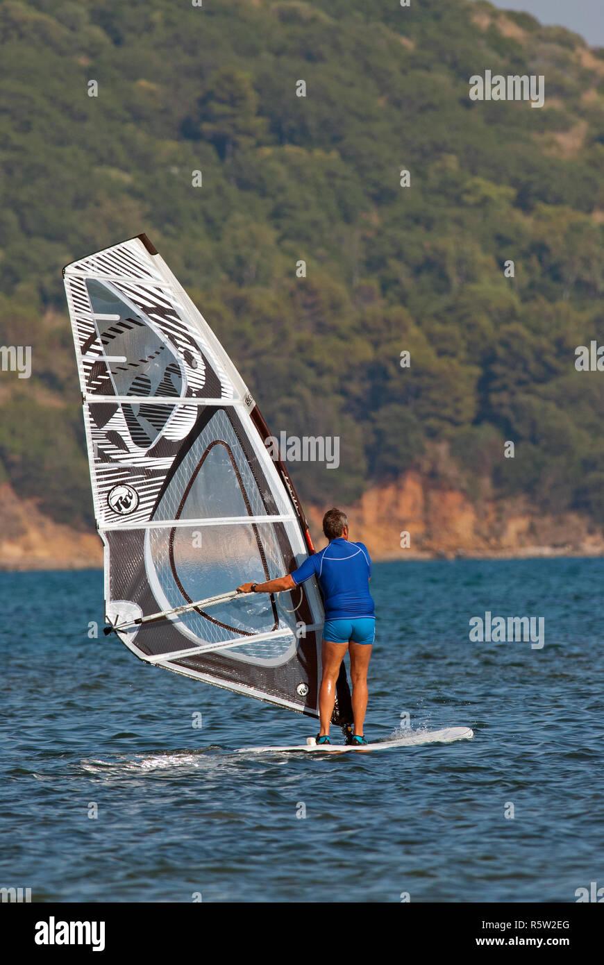 Windsurf near Talamone, Grosseto, Tuscany, Italy - Stock Image
