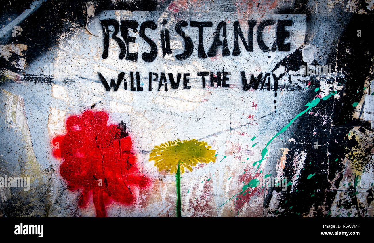 Grafitti on the border wall between Israel and Palestine - Stock Image