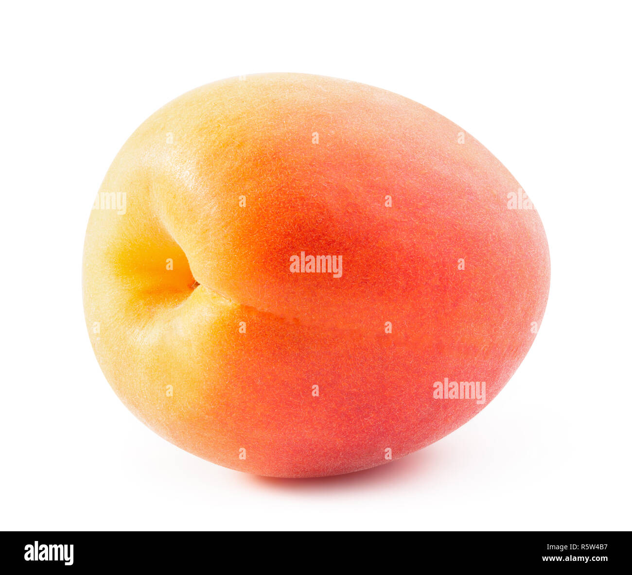 Ripe apricot isolated on white background with clipping path - Stock Image