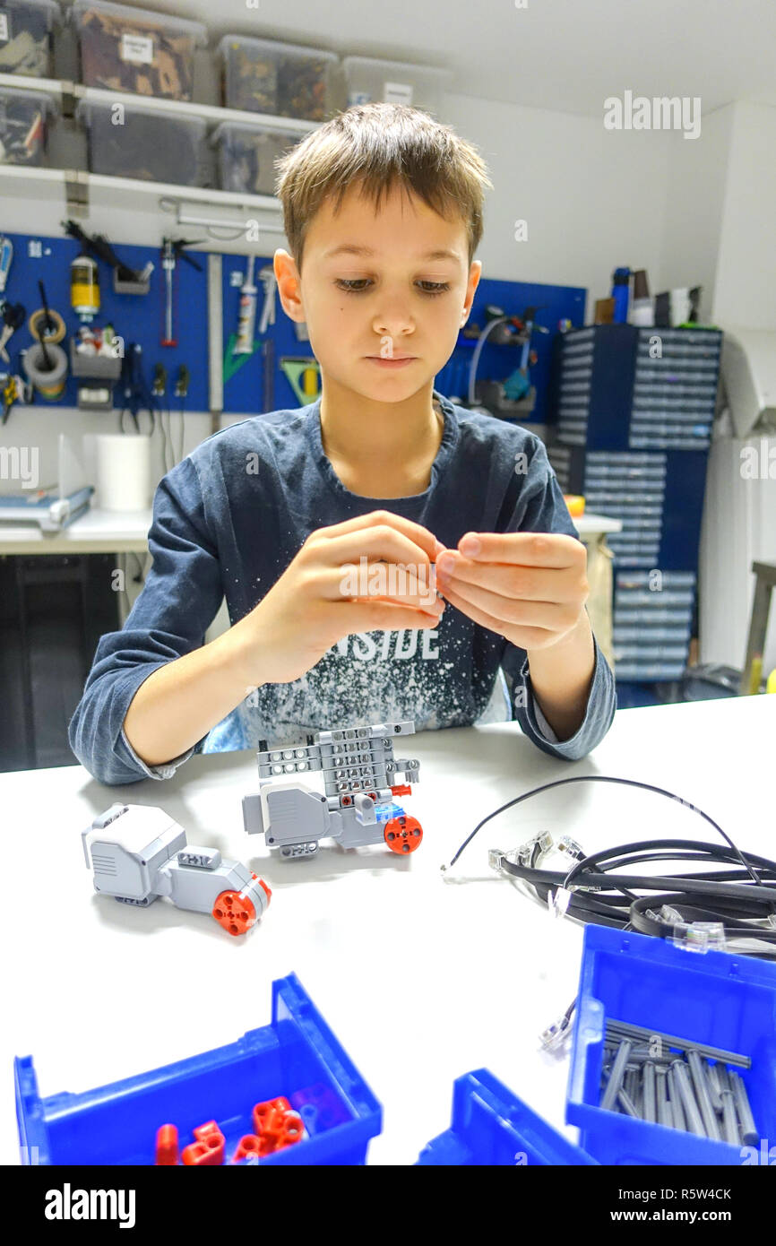 Lego Education Stock Photos Images Alamy Electronic Ear For Rcx Module Vilnius Lithuania November 23 2018 Kid Making Robot Mindstorms Robotic