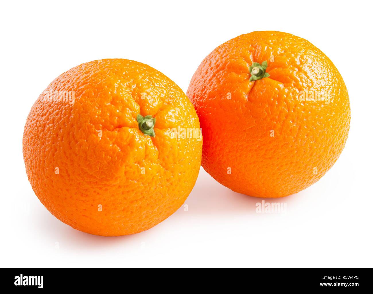 Oranges. Ripe oranges isolated on white background - Stock Image
