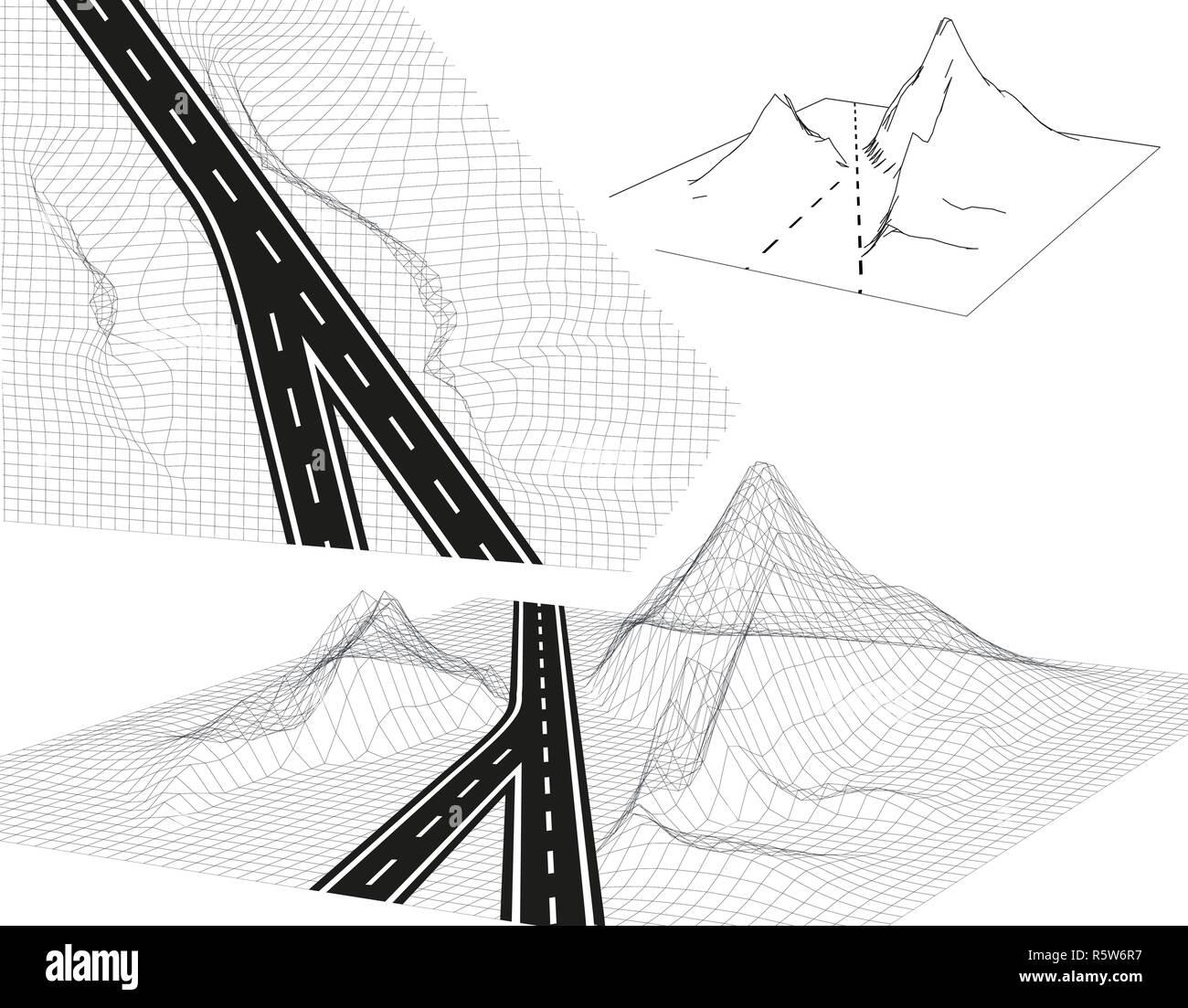 Road, highway in 3D. View from above and in Perspective. Highway design. Skeletal Framed Landscape. illustration Stock Vector
