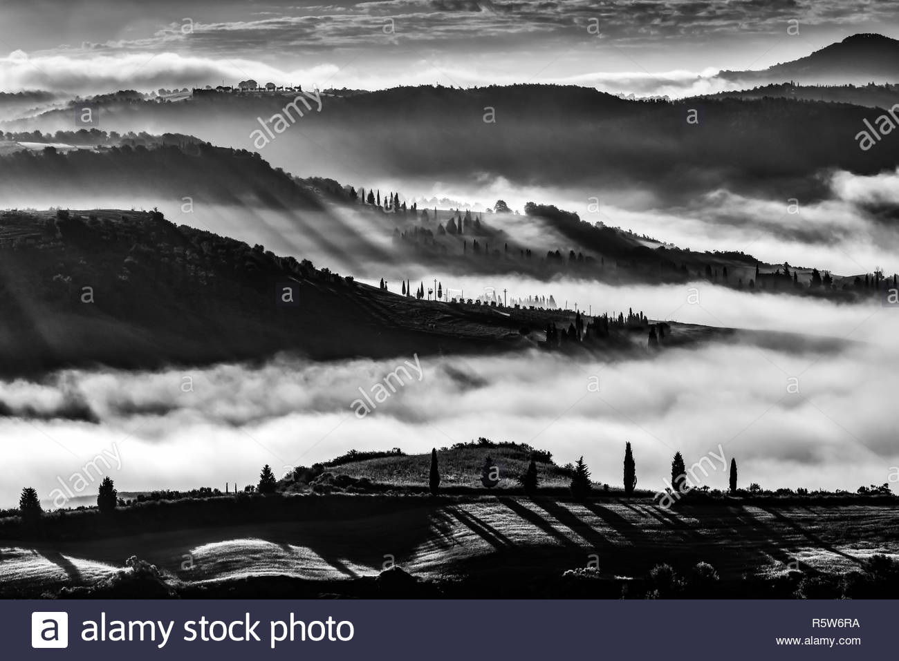 Sunrise over Val d'Orcia - Stock Image