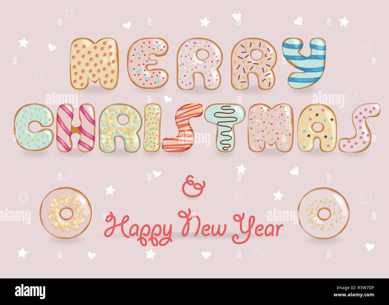 festive inscription with white chocolate donuts letters merry christmas happy new year unusual sweet artistic font vector illustration