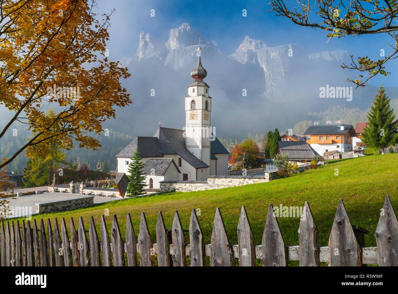 Parish Church St. Vigilius in Colfosco, Dolomites, Italy Stock Photo