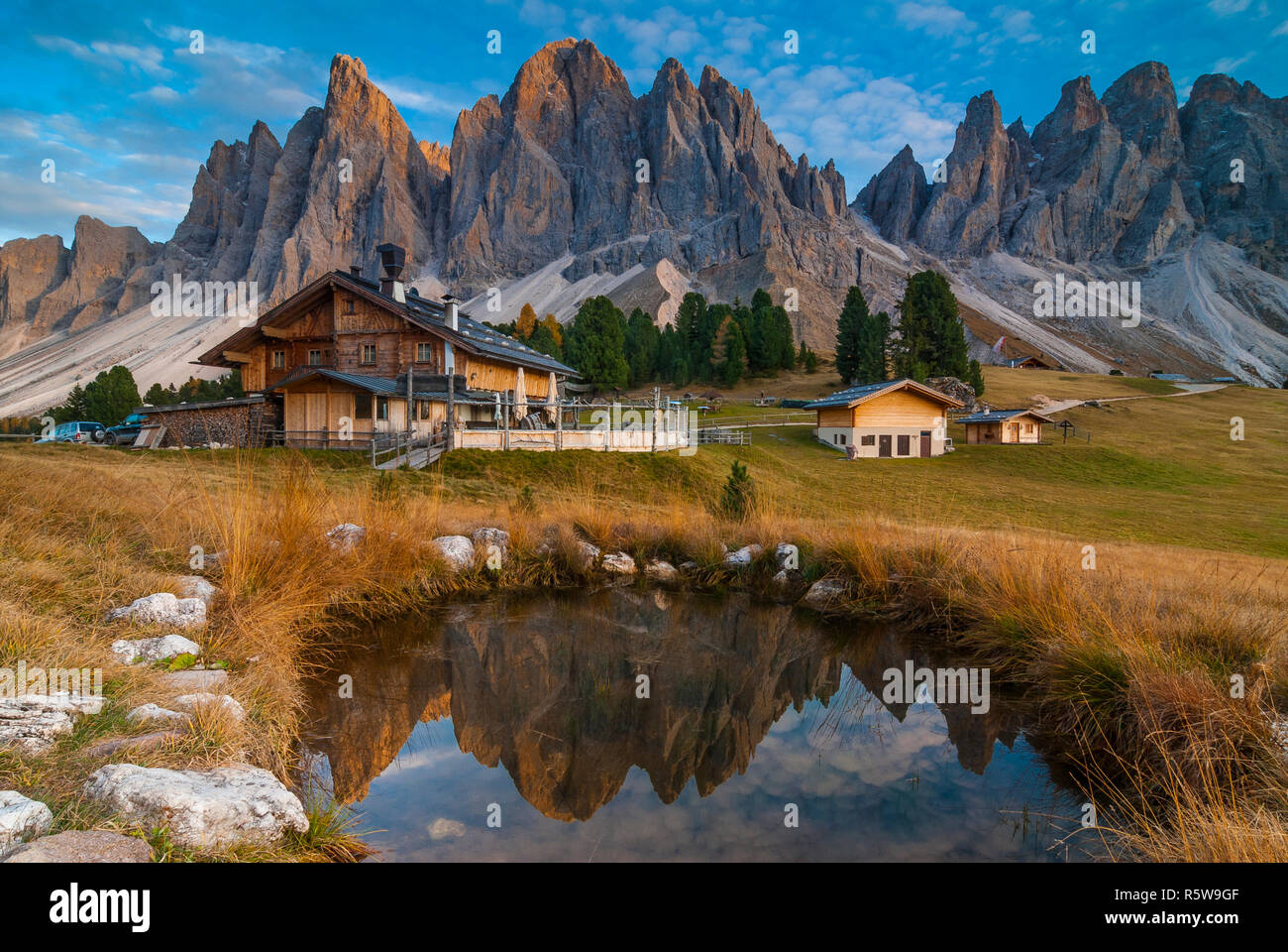 Mountain huts at the foot of the Odle group, Dolomites, Italy - Stock Image