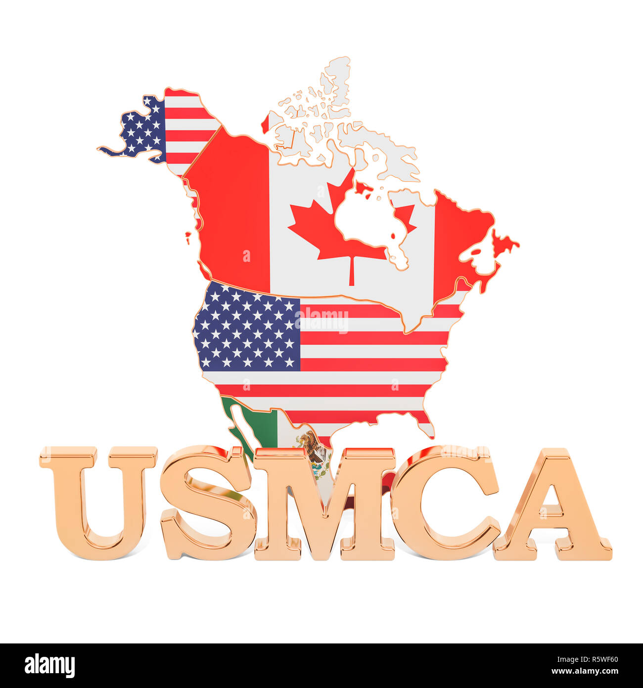 United States Mexico Canada Agreement, USMCA concept. 3D rendering Stock Photo