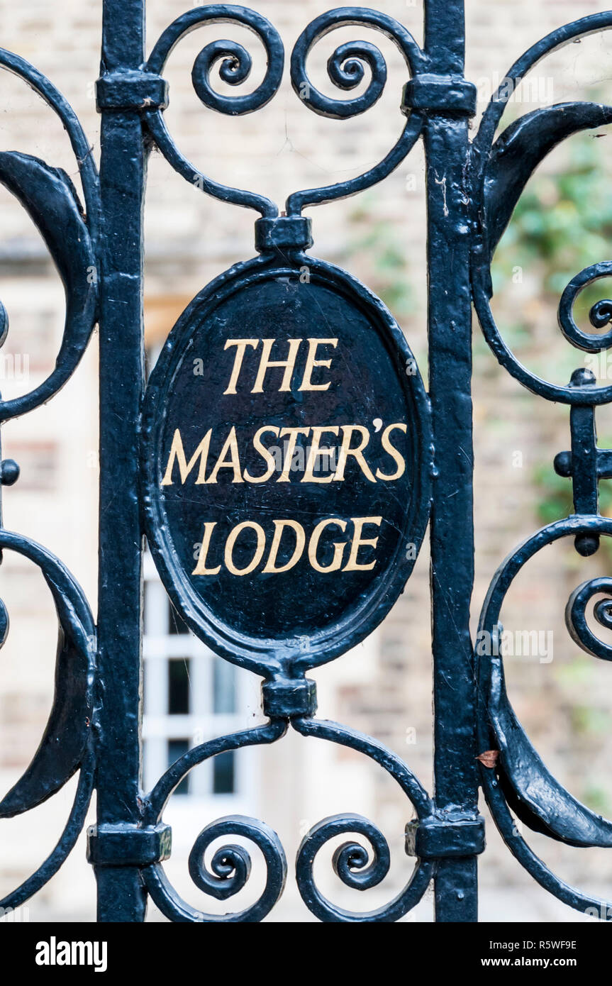 A sign on the gate at the entrance to The Master's Lodge, Jesus College, Cambridge. - Stock Image