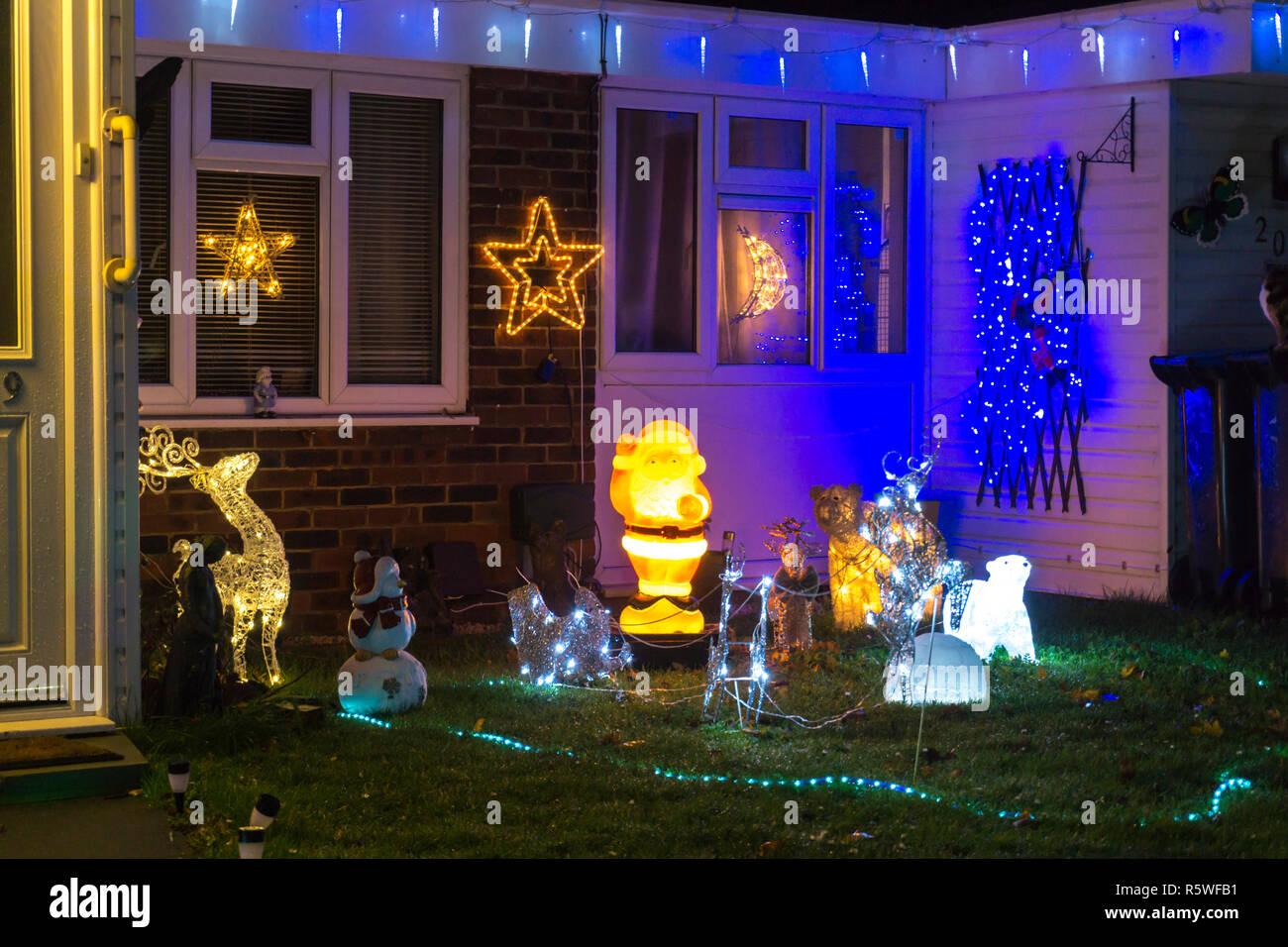 England Christmas Decorations.Christmas Decorations House England Stock Photos Christmas