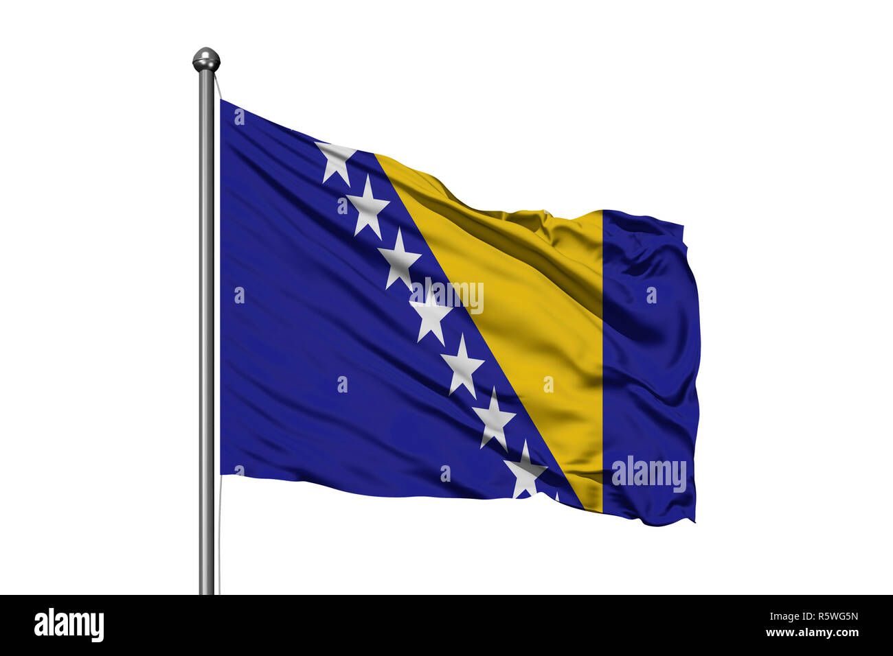 Flag of Bosnia-Herzegovina waving in the wind, isolated white background. Bosnian flag. - Stock Image