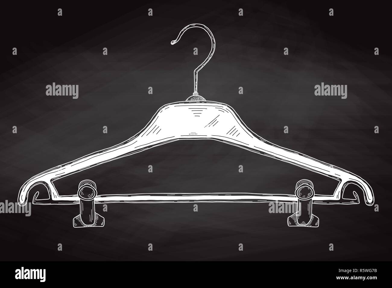 Sketch clothes hangers on chalk board. Vector - Stock Image