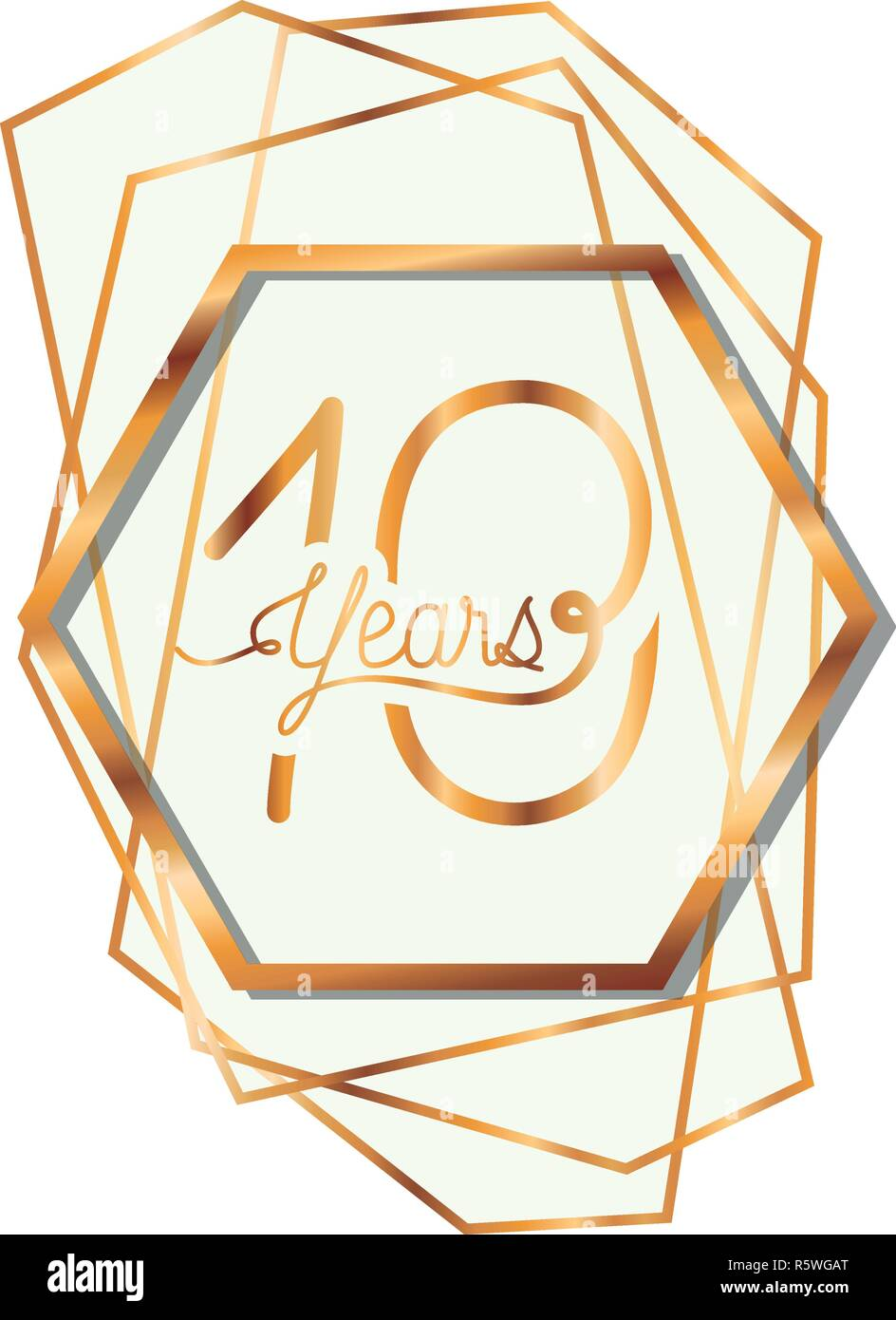 number 10 for anniversary celebration card icon - Stock Vector