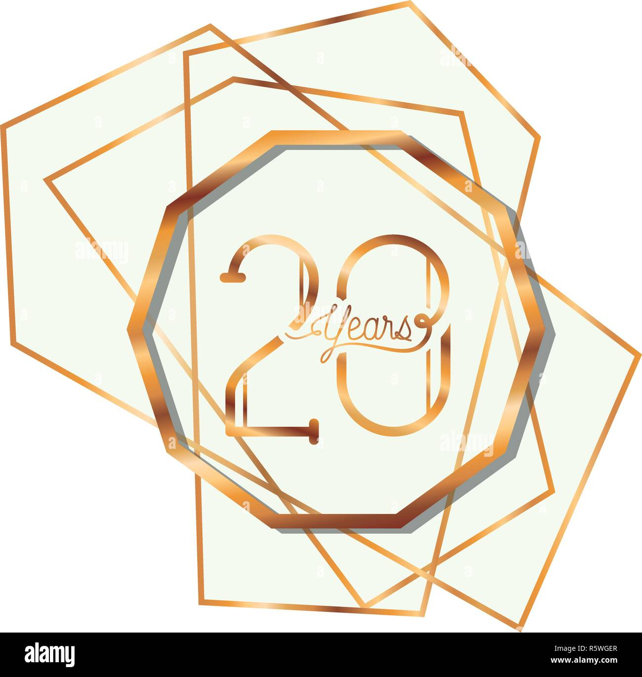 number 20 for anniversary celebration card icon - Stock Vector