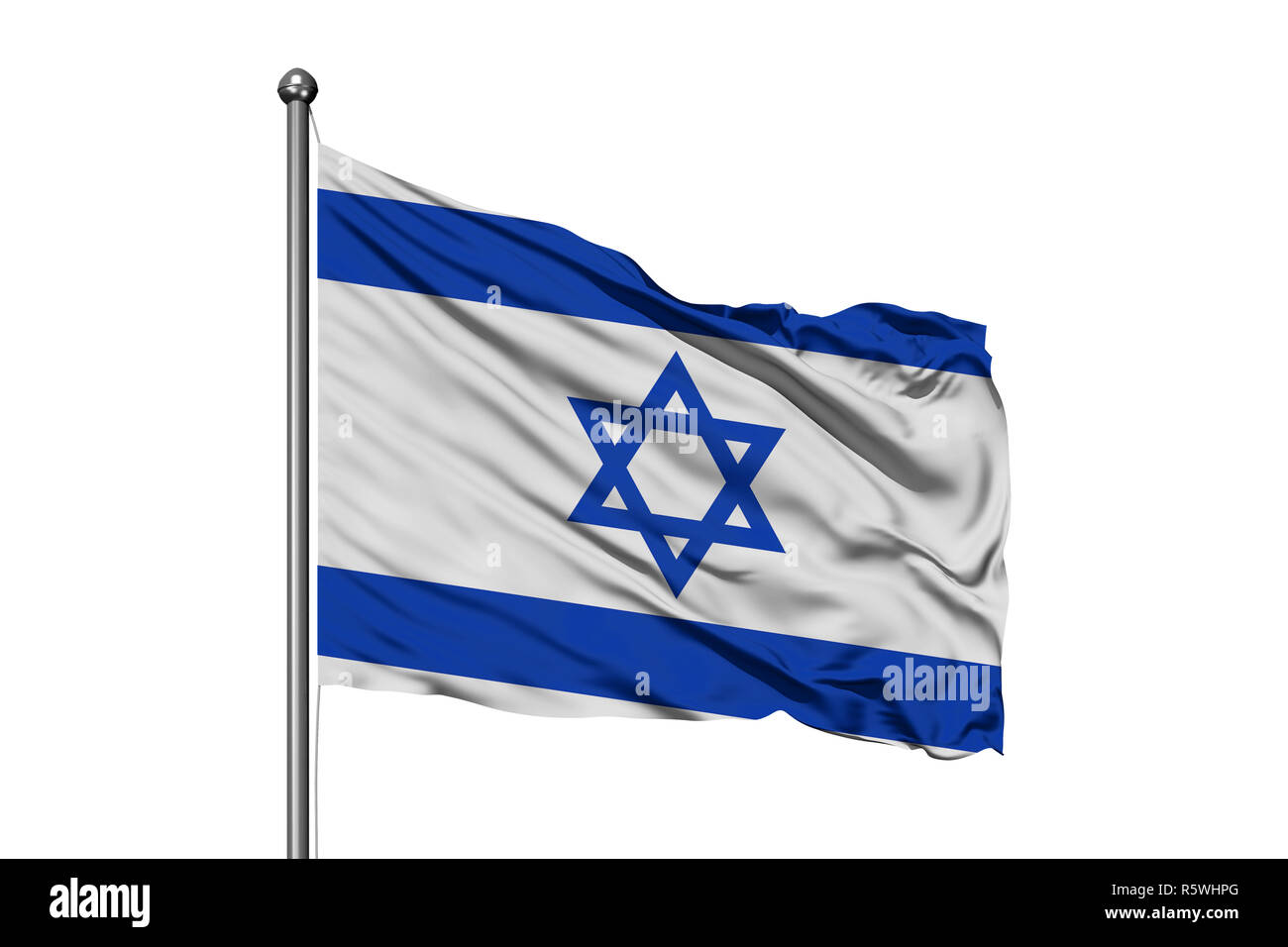 Flag of Israel waving in the wind, isolated white background. Israeli flag. Stock Photo
