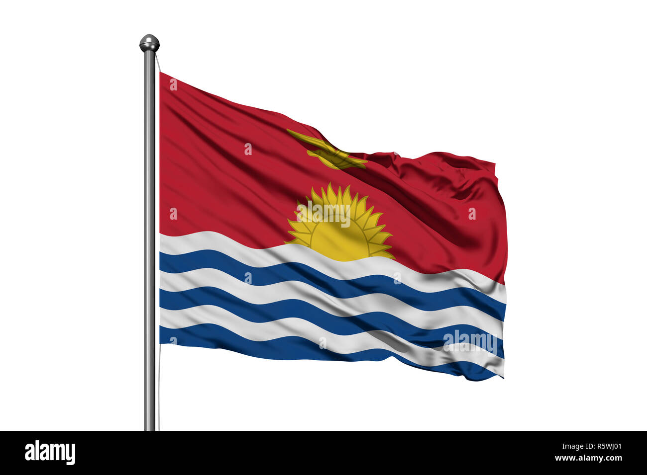 Flag of Kiribati waving in the wind, isolated white background. - Stock Image