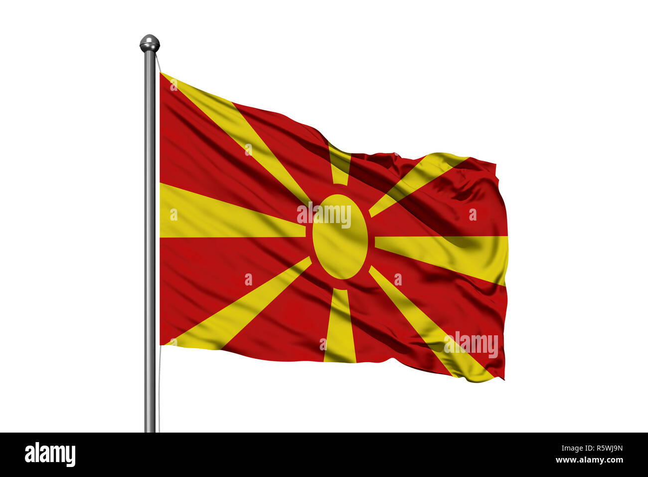 Flag of Macedonia waving in the wind, isolated white background. Macedonian flag. - Stock Image