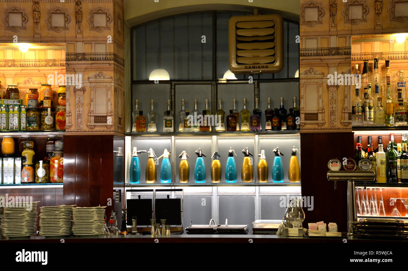 Bar Luce at Fondazione Prada, designed by director Wes Anderson. Milano, 2018 - Stock Image