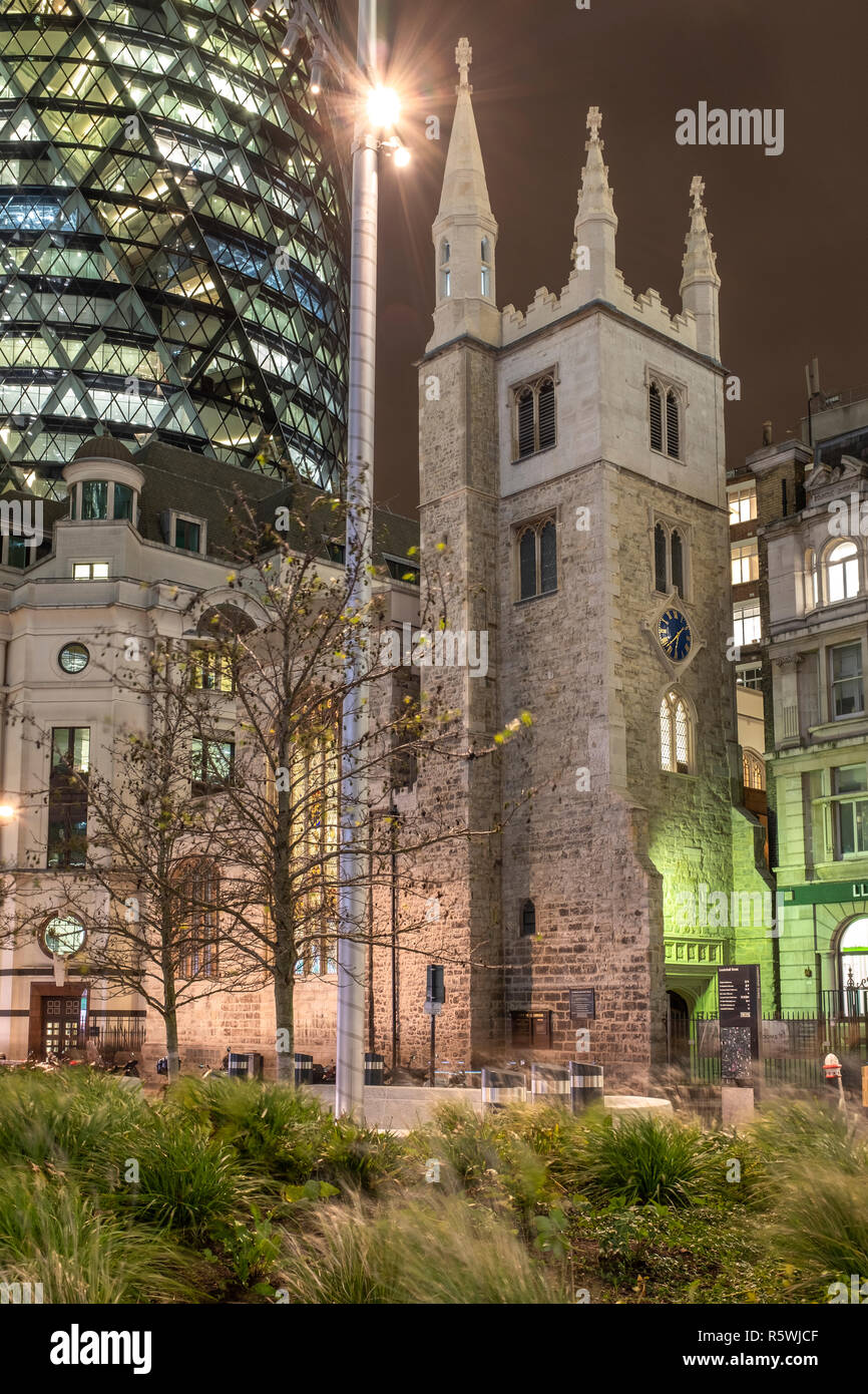 England, City of London, St Andrew Undershaft Church- historic Church amid modern offices.15th-century church that survived 1666's Fire of London and  Stock Photo