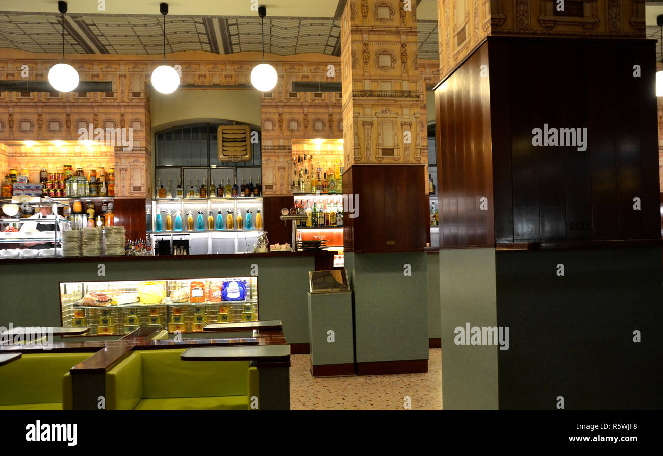 Bar Luce at Fondazione Prada, designed by director Wes Anderson. Milano, 2018 Stock Photo