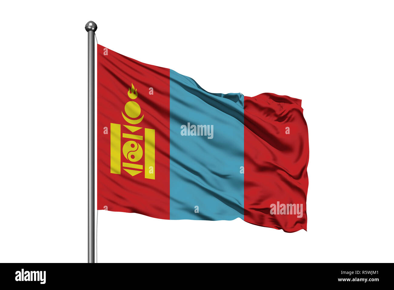 Flag of Mongolia waving in the wind, isolated white background. Mongolian flag. - Stock Image