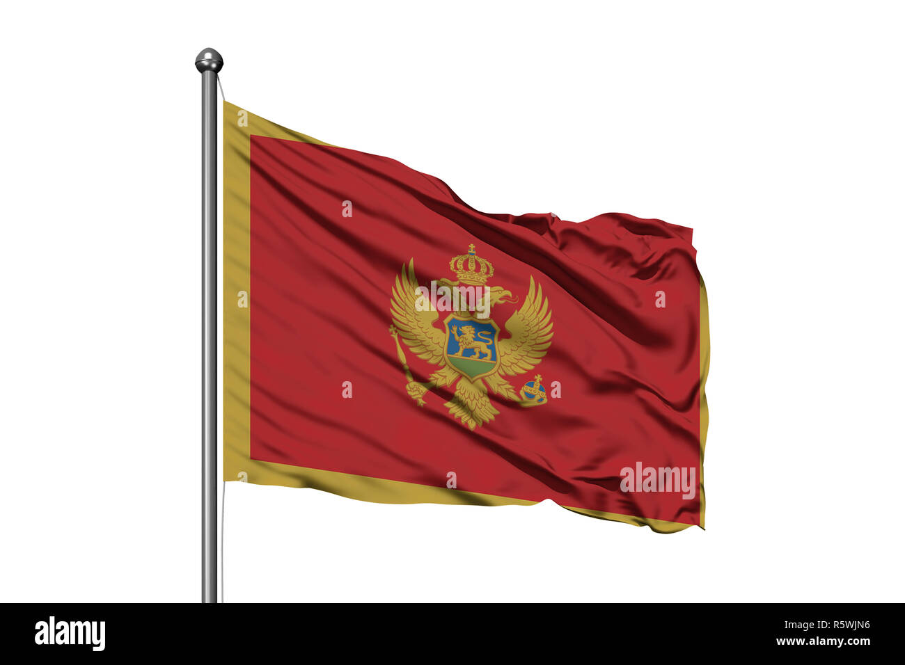 Flag of Montenegro waving in the wind, isolated white background. Stock Photo