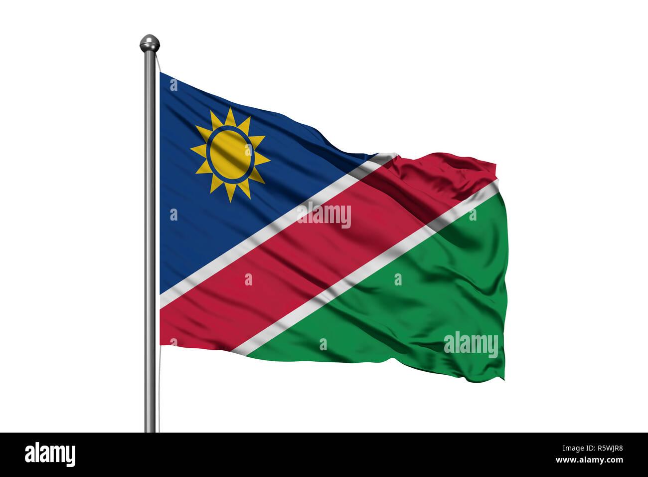 Flag of Namibia waving in the wind, isolated white background. Namibian flag. - Stock Image