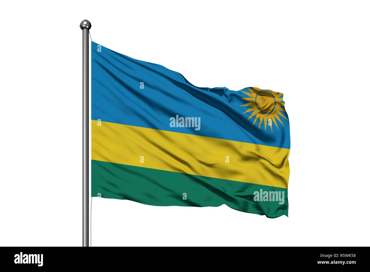 Flag of Rwanda waving in the wind, isolated white background. Rwandan flag. - Stock Image