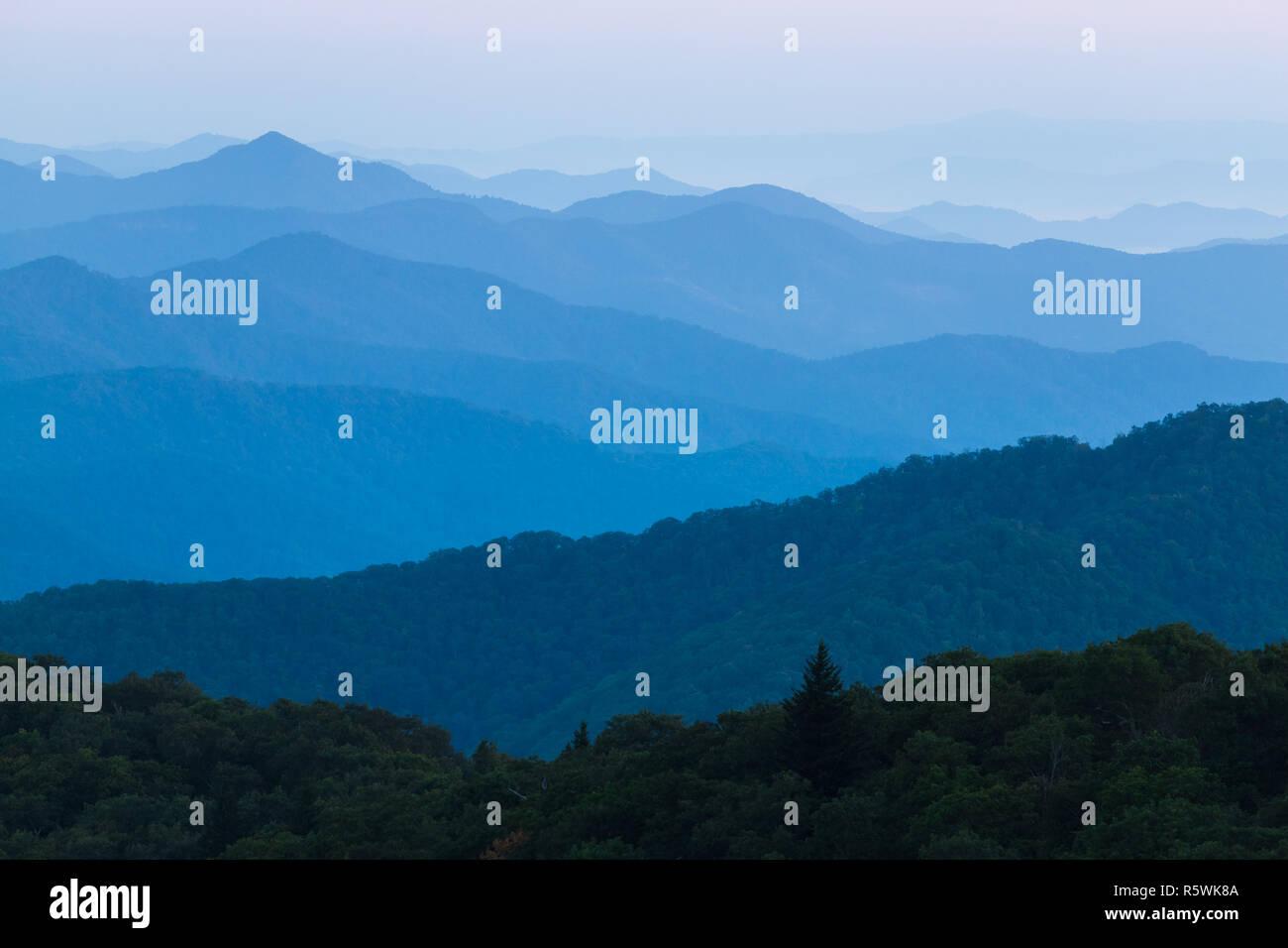 The beautiful smoky mountains from Asheville, North Carolina - Stock Image