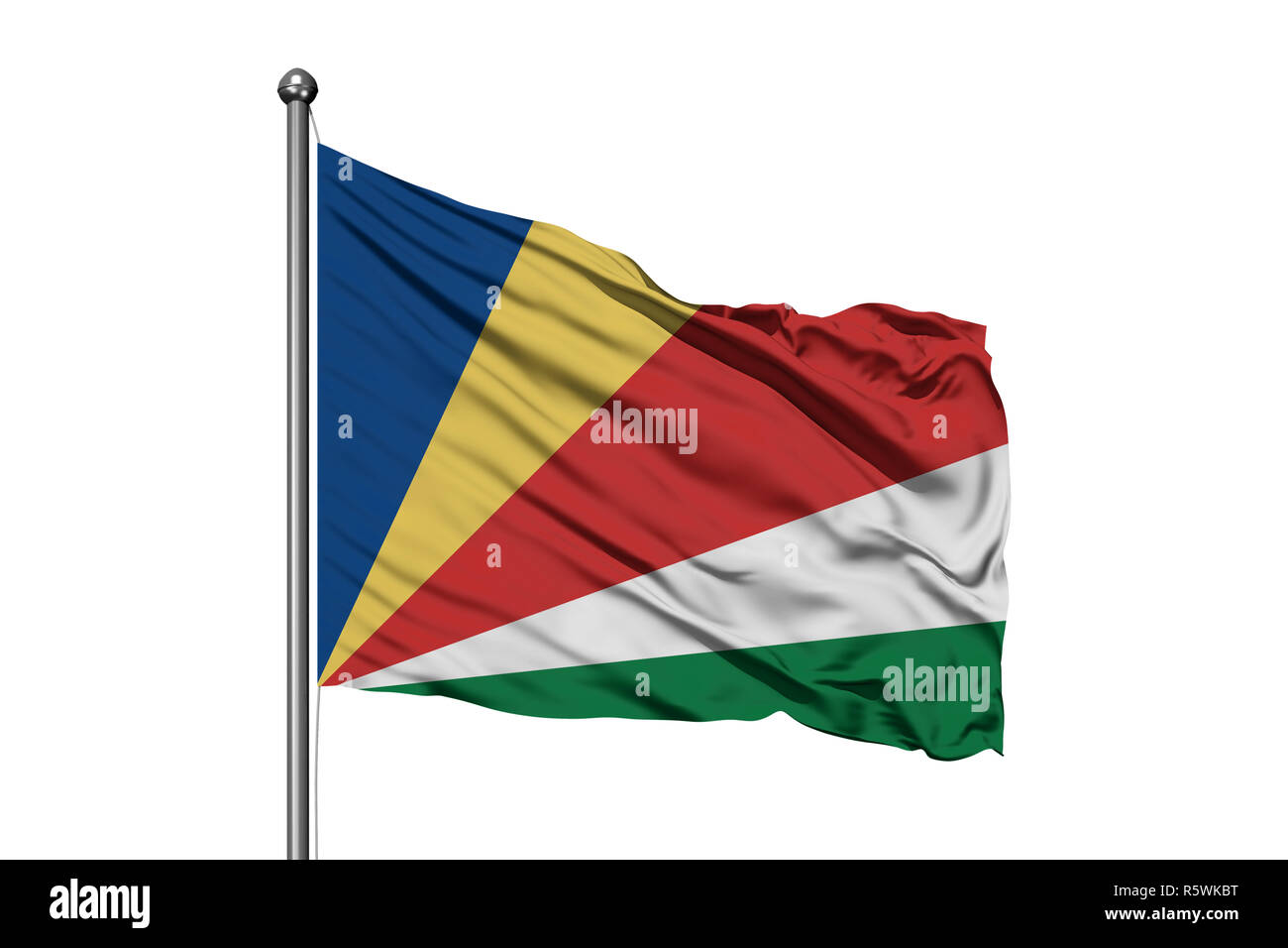Flag of Seychelles waving in the wind, isolated white background. Seychellois flag. - Stock Image