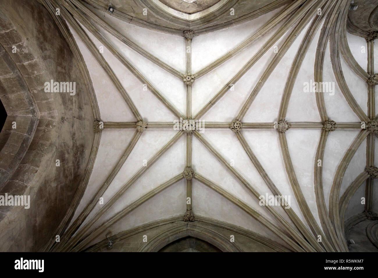 Stone church roof bracers and bosses. Stone vaulting ribs. St John the Baptist parish church, Bishopstone, Wiltshire. Stock Photo