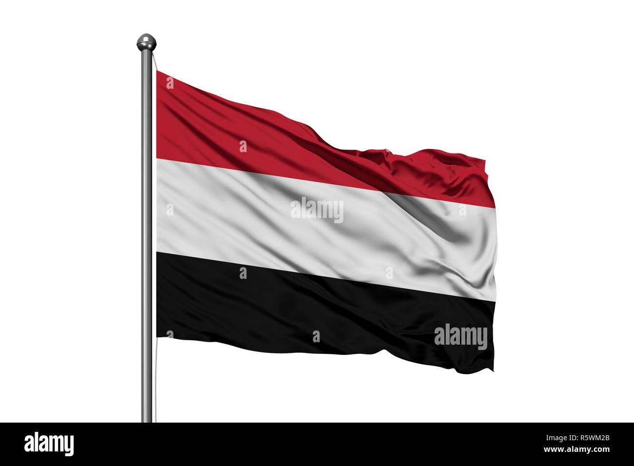 Flag of Yemen waving in the wind, isolated white background. Yemeni flag. - Stock Image