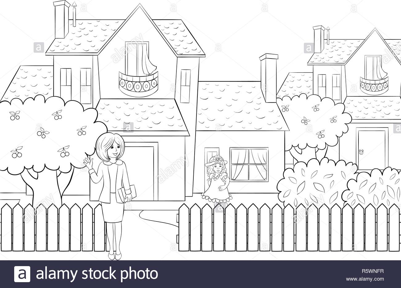 A cute teacher and little girl in front of house with trees,bushes and fence image for children.Line art style illustration for relaxing activity.Post - Stock Vector