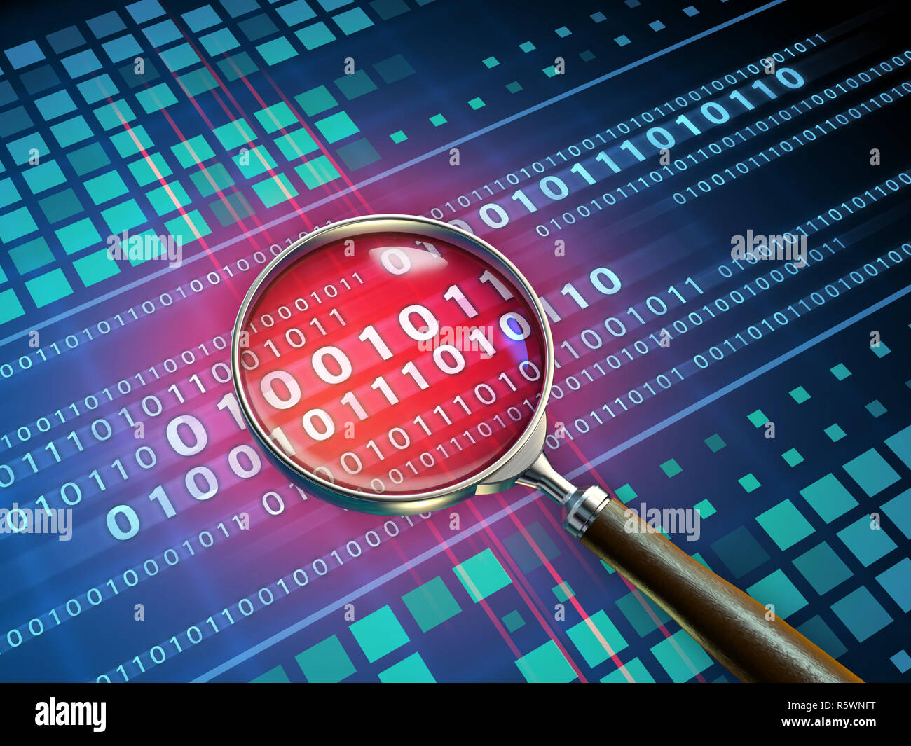 Magnifying glass inspecting some binary code. 3D illustration. - Stock Image