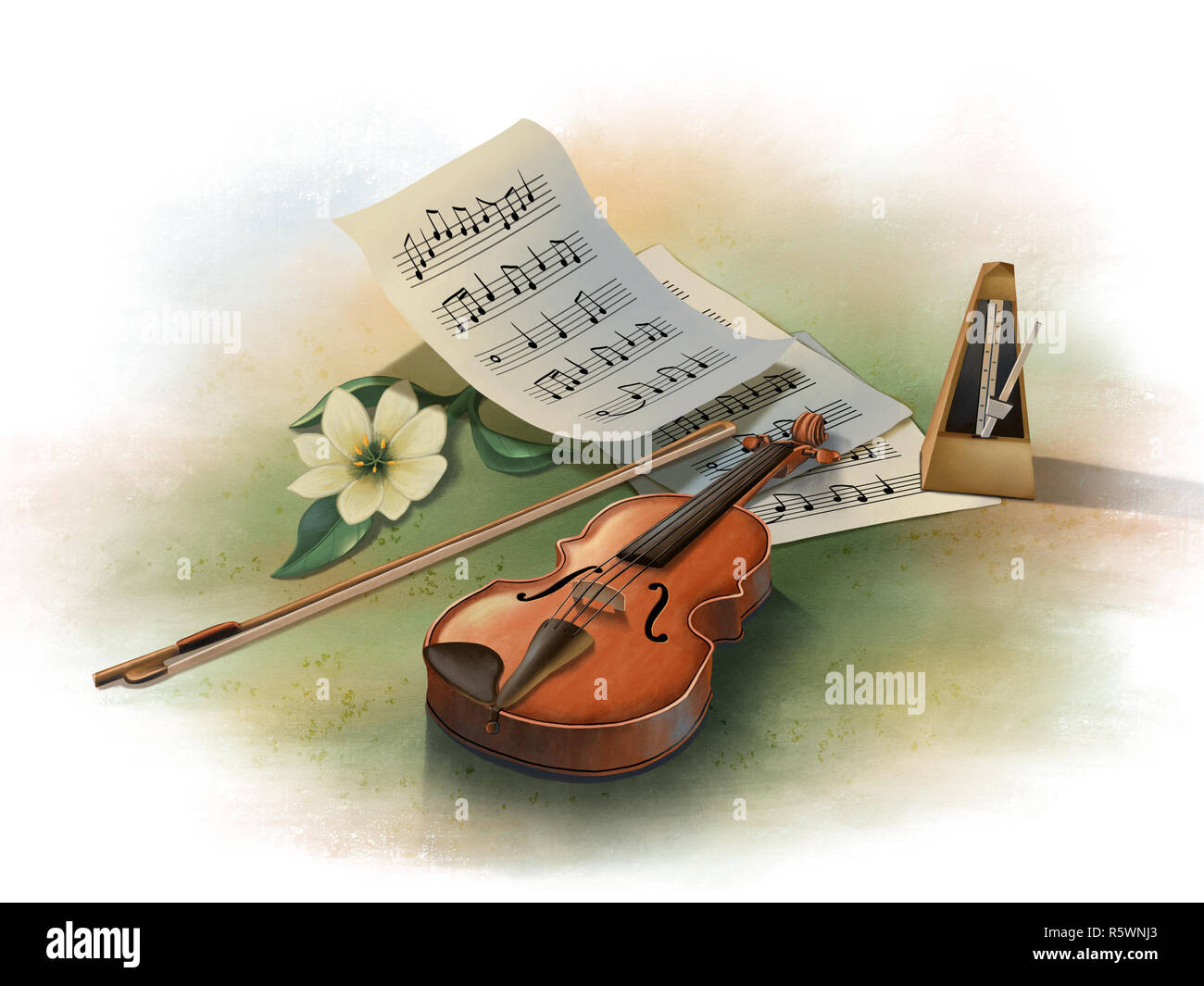 Still life with violin, metronome and some music sheets. Digital illustration. - Stock Image