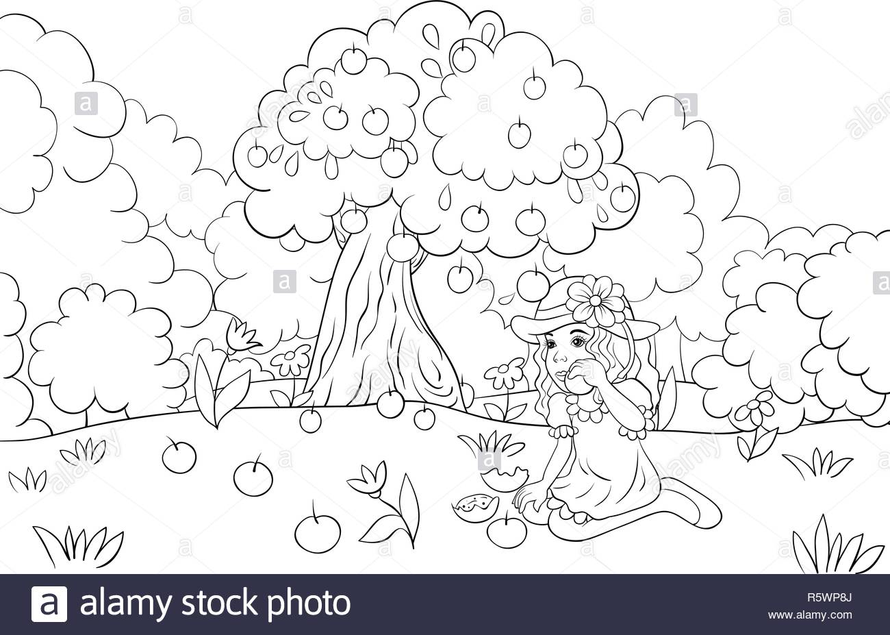 A Little Girl Eating Apples On The Background With Trees