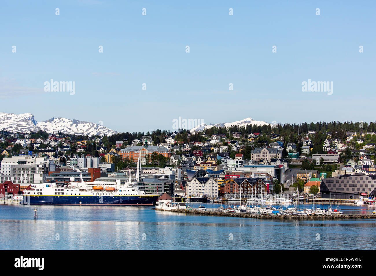 The Lindblad Expeditions ship National Geographic Explorer at the dock in Tromsø, Norway - Stock Image