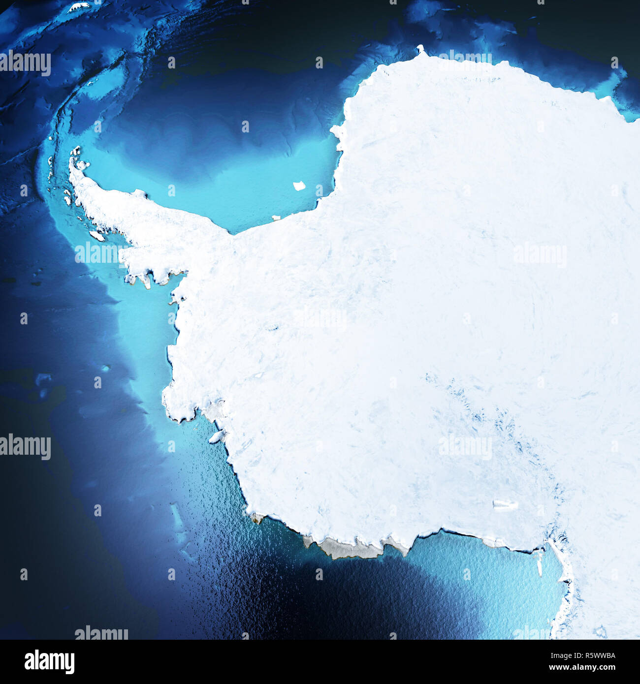 Antarctica, South Pole 3d rendering Stock Photo