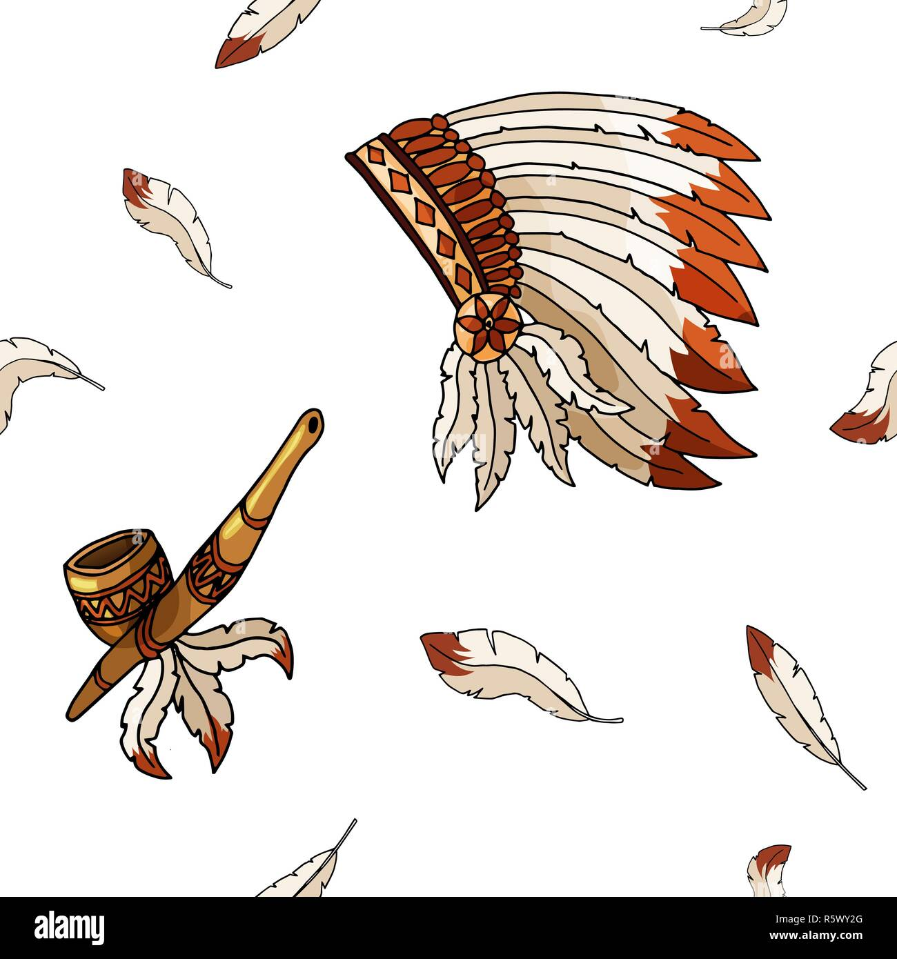 Warbonnet on white background. Rough festival feathers seamless pattern - Stock Image