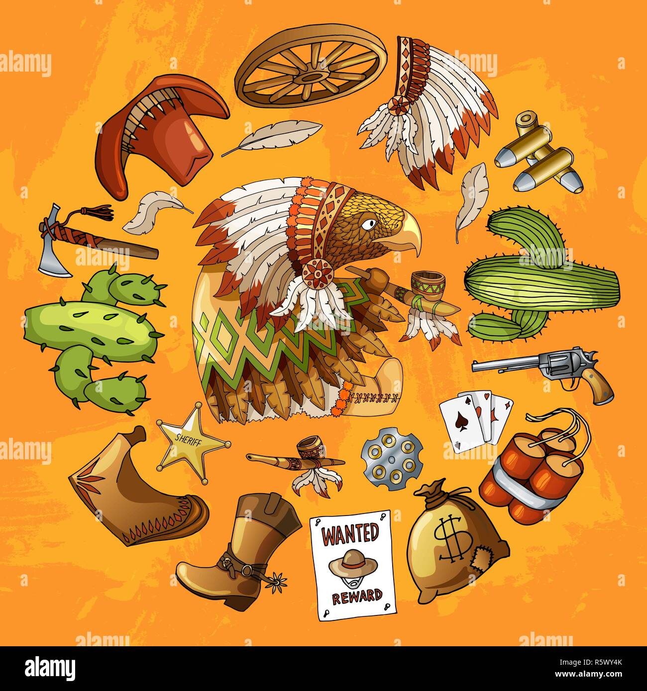 Cartoon character american eagle set of classic western items round design print - Stock Image