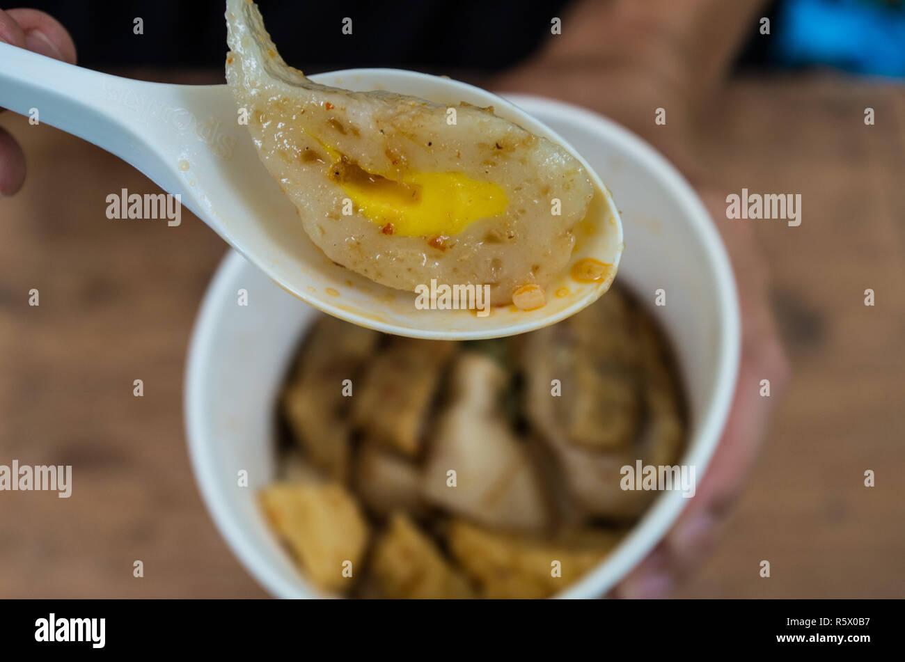 Pempek Palembang - fishcake delicacy from Palembang, Sumatra, Indonesia - close-up - Stock Image