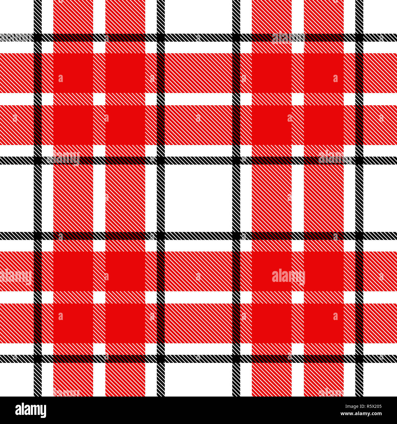 Seamless Plaid Tartan Check Pattern Black White And Red Design