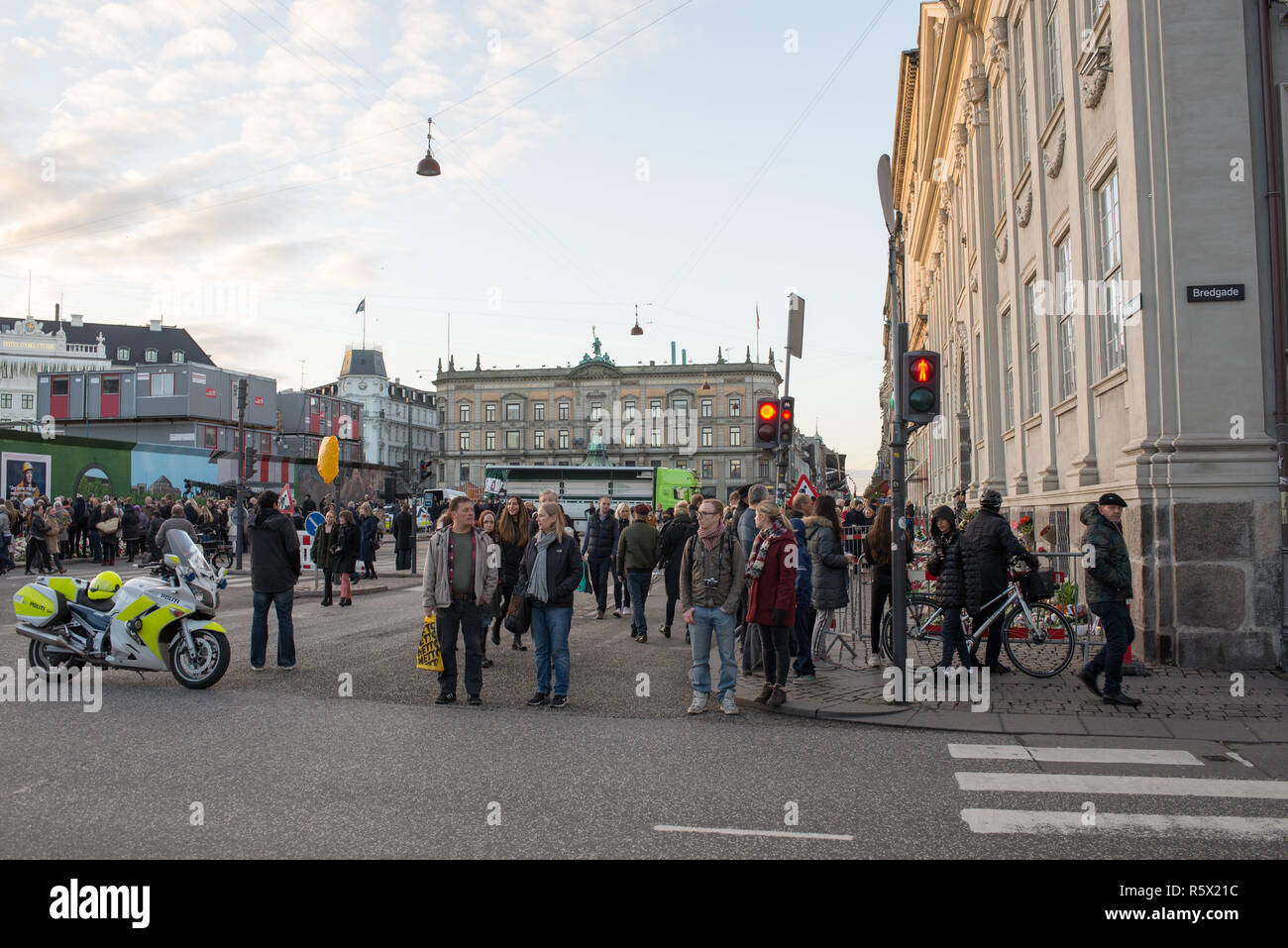 The Embassy of France in Copenhagen after the November 2015 shootings in Copenhagen - Stock Image