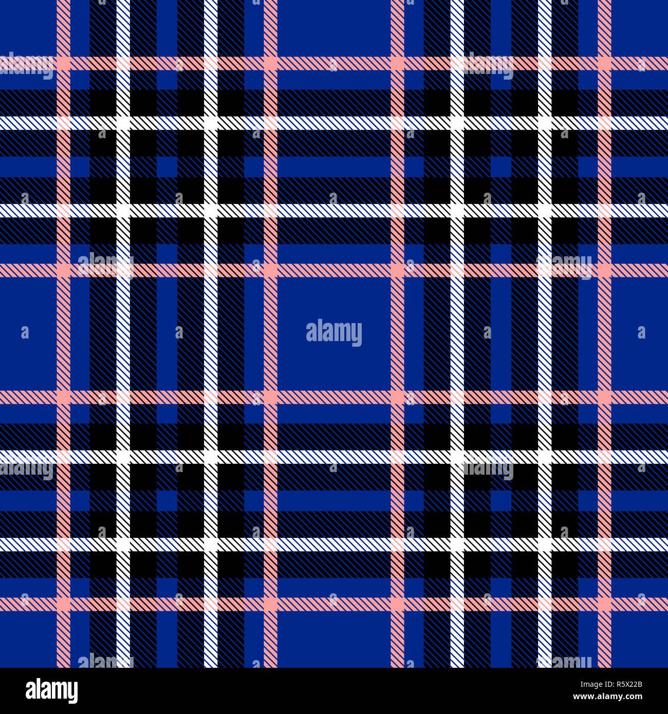 Seamless Plaid Tartan Check Pattern Blue Pink Black And White