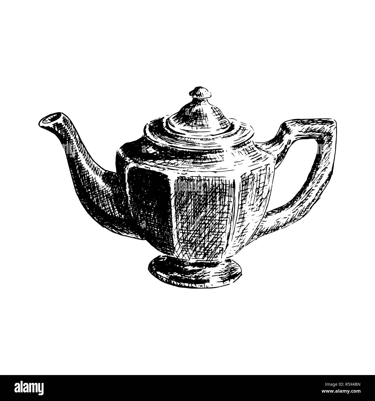 Graphic hand drawn tea pot on white background. Kitchenware sketch vector illustrator - Stock Image